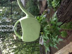 Old watering can with a hole cut in the bottom.  Hanging tomato plant with salad greens growing out of the top.