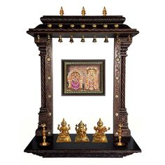 "MANTRA Wall Mounting Pooja Temple / Mandir / Mandapa / Mandapam With Gold Plated Bronze Accessories (Size : 36""x12""x48"")"