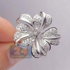Womens 1.58 Carat Diamond Flower Design Cocktail Style Ring 14K White Gold