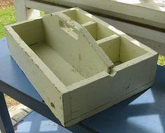 Wooden Wood Tool Box Caddy Tote Nail Bin Divided Small Parts Tray Carrier Grungy   eBay
