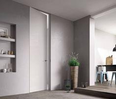 Best 8 Amazing Minimalist Home Door Design To Perfect The Interior at Your Home Flush Door Design, Home Door Design, Sliding Door Design, Best Interior, Home Interior, Invisible Doors, Porte Design, Moderne Pools, Indoor Doors