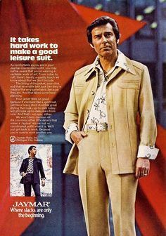 Fashions of the 70s were often quite quirky and many of the popular trends of the decade were considered silly by those interested in high fashion. However, mainstream America embraced many of these new styles, including the leisure suit, a casual men's 2-piece suit that had actually been around since the 1930s but rose to popularity in the mid to late 1970s.
