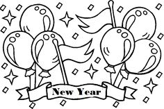 Balloons On Happy New Year Day Colouring Pages Kids