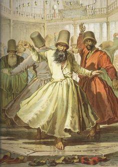 Mevlevi Dervishes, Istanbul, 19th Century, 'Amedeo Preziosi'