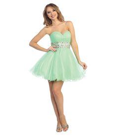 Mint Satin & Tulle Strapless Short Dress #uniquevintage #prom
