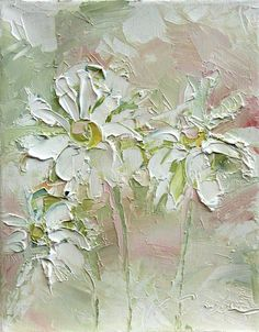 Fresh Flowers Triptych No.2-3, limited edition of 50 fine art giclee prints (palette knife painting art)