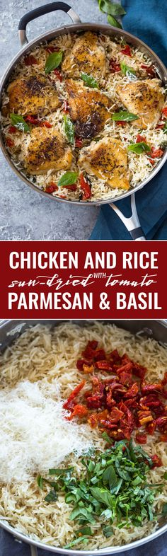 One Pan Chicken and Rice with Sun dried tomato, Parmesan and Basil