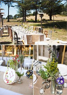 outdoor wedding reception ideas. Love the cross stitch table numbers