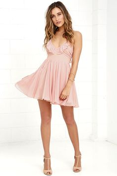 Your kingdom awaits you, as does the Pixie Palace Blush Pink Skater Dress! Ruffled cups top a set-in waist and pleated skater skirt, all made from lightweight woven poly fabric. Shoulder straps lace and tie above a low back. Side zipper/hook clasp.