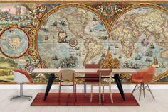 #Hemisphere #Map ( #landkaartbehang ) Ben jij een globetrotter? Dan past dit landkaartbehang helemaal bij jou! Haal reisherinneringen op door naar de #wereldkaart op je #muur te kijken! Er zijn verschillende #landkaarten op #behang verkrijgbaar. Onze favoriet is de #vintage #wereldkaart!