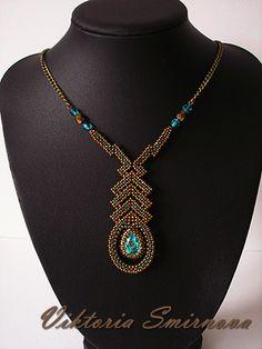 Миниатюрное колье с кристаллом Сваровски ( Light turquoise)