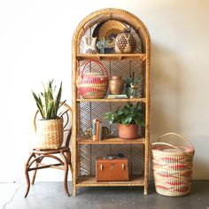 SOLD: Vintage Rattan Shelf / Large / Boho Home / Shelf Styling Home Decor Styling with Pampas Grass and Woven Chair - kari beckett design We offer the best decor for your home. Whatever style your family favors, you'll. White Wicker Patio Furniture, Rattan Furniture, Unique Furniture, Vintage Furniture, Living Room Furniture, Furniture Ideas, Furniture Dolly, Furniture Depot, Furniture Online