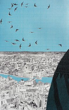 London Lurking behind the Gherkin by Clare Halifax
