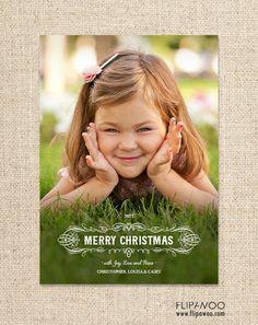 Holiday Christmas Photo Card - Merry Christmas - Customized Printable by FLIPAWOO
