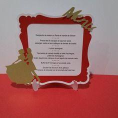 Menu de mariage élégant  avec mariés - rouge, blanc et doré / or