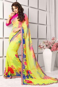 Captivating Yellow Color Printed Saree