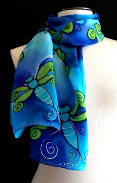 Hand painted silk scarf with whimsical by FantasticPheasant, $40.00