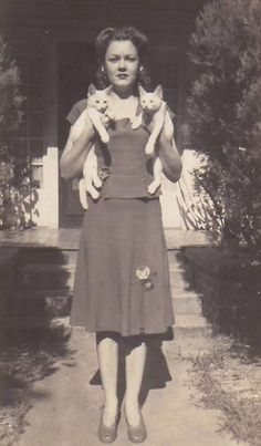 vintage pic of beautiful woman and two cats. www.kittyloversclub.com