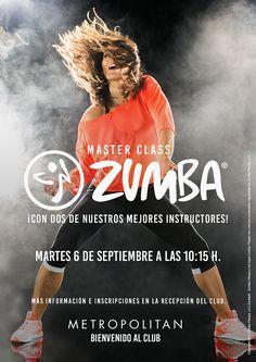 El martes 6 de Septiembre a las 10:15 h. realizaremos una Master Class de Zumba en Metropolitan Gran Vía.  ¡Con dos de nuestros mejores instructores!  Más información e inscripciones en Recepción del Club.