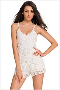 Womens Lace Sexy Spaghetti Straps Lowcut Backless Top Short Jumpsuits Fashion Rompers -- Want additional info? Click on the image.
