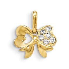 CZ Bow Pendant 14K Yellow Gold Charm Madi K Children #AccessoriesJewelry #Pendant