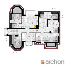 Projekt domu Rezydencja w Myślenicach 3 (P) - ARCHON+ Floor Plans, House Design, American Houses, Projects, Architecture, Home Design, Floor Plan Drawing, Home Design Plans, Design Homes