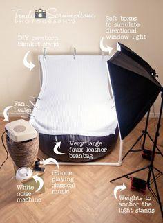 Newborn blanket stand and newborn photography tips!