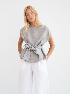 ALEXANDRA is a linen tie waist top with cap sleeves and self tie belt. Handmade in our studio from premium midweight European linen. Fashion Over 50, Fashion Tips, Hijab Fashion Inspiration, Mens Fashion, Blue Fashion, Style Inspiration, Tie Waist Top, Mode Top, Sleeve Designs