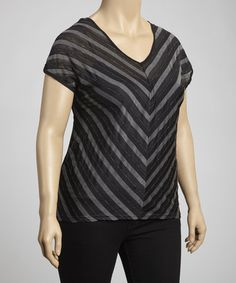 Take a look at this Black Chevron Short-Sleeve Top - Plus by C.O.C. on #zulily today!
