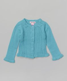 Aqua Shoulder Bow Cardigan - Infant, Toddler & Girls #zulily #zulilyfinds