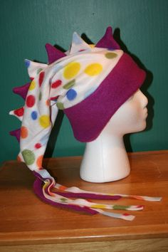 COOL HAT, TURN HEADS WITH THIS!!      Purple Polka Dots Rainbow Fleece Dragon or by thelopsidedfrog, $18.00