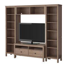 HEMNES TV storage combination, gray-brown gray-brown 87 3/8x77 1/2