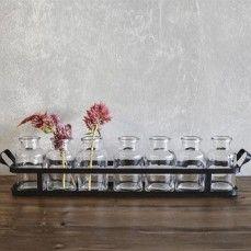 Metal Tray With Seven Bottles  Wedding Vase