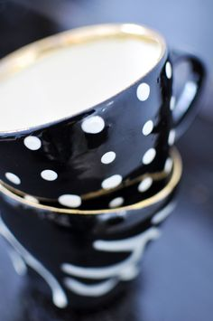 Black and white dotty teacups.