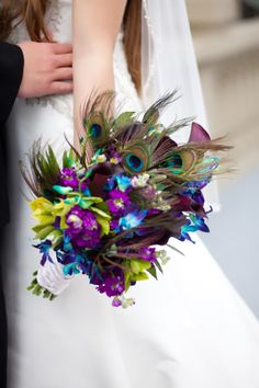 peacock and purple- Ella likes this wedding bouquet! Wedding Wishes, Our Wedding, Dream Wedding, Wedding Stuff, Wedding Ideas, Wedding Photos, Purple Wedding, Wedding Colors, Peacock Wedding Flowers