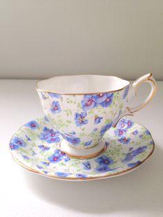 Vintage English Royal Albert Crown China Tea Cup and Saucer 1950s