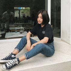 Midrise Black Denim Flare Jeans is part of Fashion outfits - Saint Laurent Black midrise denim flare jeans Neue Outfits, Grunge Outfits, Girl Outfits, Casual Outfits, Fashion Outfits, Fashion Ideas, Fashion Clothes, Summer Outfits, Hipster Outfits