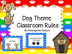 Brighten up your room with these adorable Dog Theme Classroom Rules.  The header has rainbow paw print background paper and the rules are on blue paw print background paper. Rules included are:1. Raise your hand to speak2. Follow Directions3. Keep Hands & Feet to yourself4.