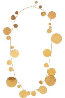 Herve van der Straeten simple gold beaten disc necklace alternating sizes circles  jewellery