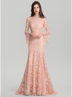 JJsHouse Trumpet Mermaid Scoop Neck Sweep Train Zipper Up Sleeves Long Sleeves No Other Colors Spring Summer Fall General Plus Lace Evening Dress. Dress Brukat, Kebaya Dress, Dress Pesta, Lace Dress, Dress Long, Chic Dress, Hijab Evening Dress, Hijab Dress Party, Lace Evening Dresses