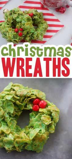 Sweet, chewy, and so easy! These no bake cornflake wreaths are a must make every Christmas! #christmaswreathcookies #christmascookies Best Christmas Recipes, Easy Holiday Recipes, Best Dessert Recipes, Christmas Desserts, Christmas Treats, Fun Desserts, Christmas Holidays, Christmas Goodies, Xmas