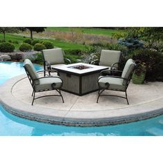 I Really Want Somthing Like This One Day For Our Pool Area :) Better Homes  And Gardens Pine Cove 5 Piece Patio Conversation Set With Fire Pit, ...
