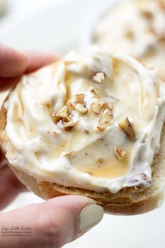 Maple Honey Roasted Pecan Cream Cheese is creamy, sweet and toasty with roasted pecans. Enjoy this maple and honey infused spread over your morning bagel or toast!