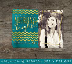 Merry and Bright Gold Chevron Holiday Cards by bndesigns on Etsy