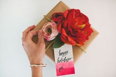 Pink + gold DIY gift wrap with Afloral silk flowers