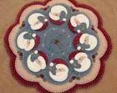 Believe-Christmas Santa penny rug candle mat pdf e-pattern