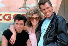 John Travolta as Danny Zuko, Olivia Newton-John as Sandy Olsson, and Jeff Conaway as Kenickie in Grease, 1978 Musical Grease, Film Musical, Grease Movie, Movie Tv, John Movie, Movie Cast, Grease 1978, Grease 2, Classic Hollywood