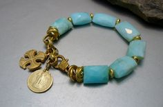 Brillant Light Blue 15-20 mm Opals with Matte and Shiny Gold by pmdesigns09