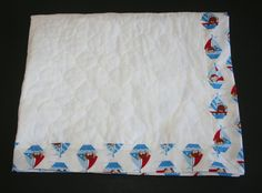 Baby Boy Quilted Blanket with Sailboat Nautical by ZamiStudio
