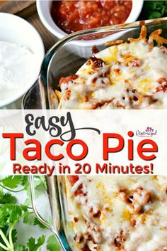 This easy, taco pie recipe is ready in 20 minutes! And there are so many fun options you can try! Its a classic taco pie recipe that our family has been making for over 15 years. Its a recipe everyone asks for! Try this simple, taco pie recipe today! Taco Pie Recipes, Casserole Recipes, Mexican Food Recipes, Dinner Recipes, Cooking Recipes, Dinner Ideas, Cheesy Recipes, Mexican Dishes, Easy Family Meals